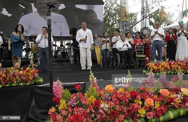 President of Ecuador Rafael Correa celebrates with the supporters of Alianza País the tenth anniversary of the citizen revolution denominated 'La...