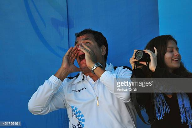 President of Ecuador Rafael Correa in the Sport Climbing event as part of the XVII Bolivarian Games Trujillo 2013 at Villa Deportiva Regional del...