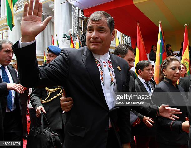 President of Ecuador Rafael Correa waves leaving the Plurinational Legislative Assembly after the swearing in ceremony for the third term on January...