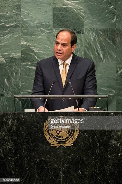 President of Egypt Abdel Fattah Al Sisi addresses the United Nations General Assembly at UN headquarters September 20 2016 in New York City According...