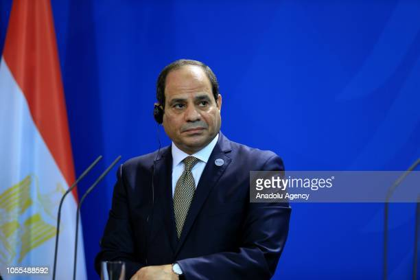 President of Egypt Abdel Fattah elSisi and German Chancellor Angela Merkel hold a joint press conference after their meeting in Berlin Germany on...