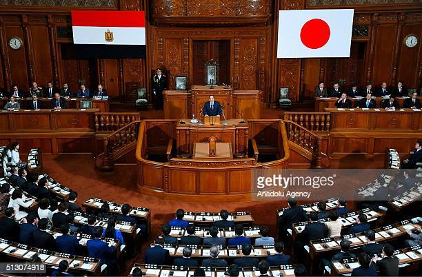 President of Egypt Abdel Fattah elSisi delivers a speech at the House of Representatives of Japan in Tokyo Japan on February 29 2016