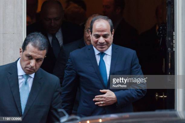 President of Egypt Abdel Fattah elSisi leaves 10 Downing Street after meeting with British Prime Minister Boris Johnson on 21 January 2020 in London...