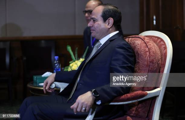 President of Egypt Abdel Fattah elSisi Prime Minister of Ethiopia Hailemariam Desalegn and President of Sudan Omar AlBashir attend a meeting on Nile...