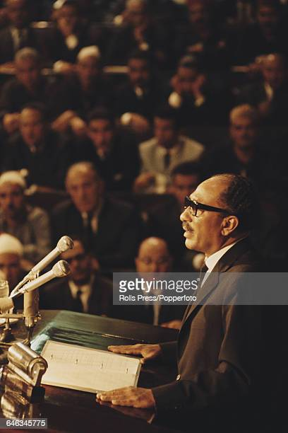 President of Egypt Anwar Sadat addresses Parliament in Cairo Egypt in October 1970 shortly after being sworn in as President after the death of Gamal...