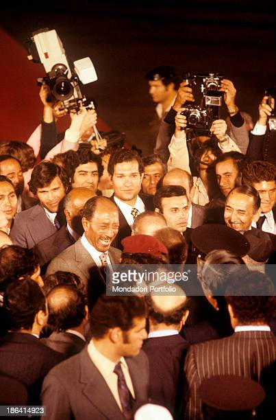 President of Egypt Anwar Sadat has just got off the aeroplane at his arrival in Jerusalem Jerusalem November 1977