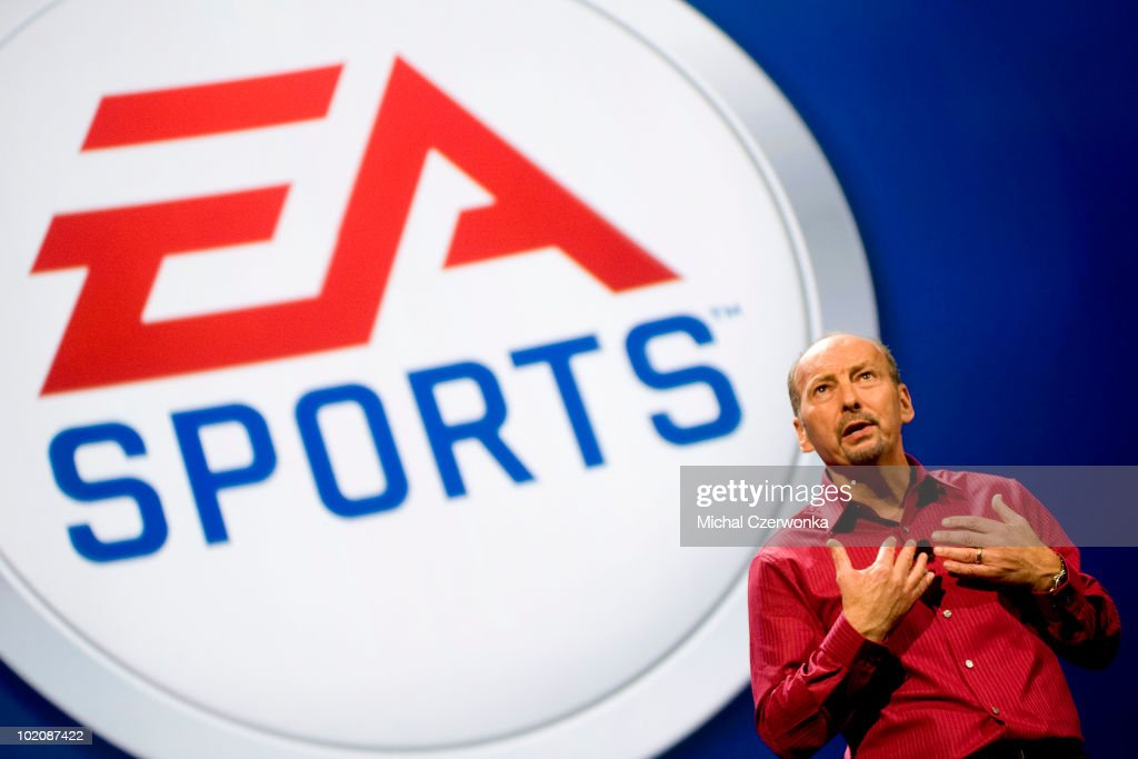 President of Electronic Arts Sports (EA Sports) Peter Moore talks about new games at an EA press briefing ahead of the Electronic Entertainment Expo (E3) at the Orpheum Theater June 14, 2010 in Los Angeles, California. The annual video game trade conference and show at the Los Angeles Convention center runs from June 15-17.