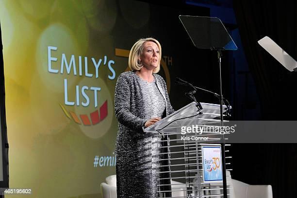 President of EMILY's List Stephanie Schriock speaks at EMILY's List 30th Anniversary Gala at Washington Hilton on March 3 2015 in Washington DC