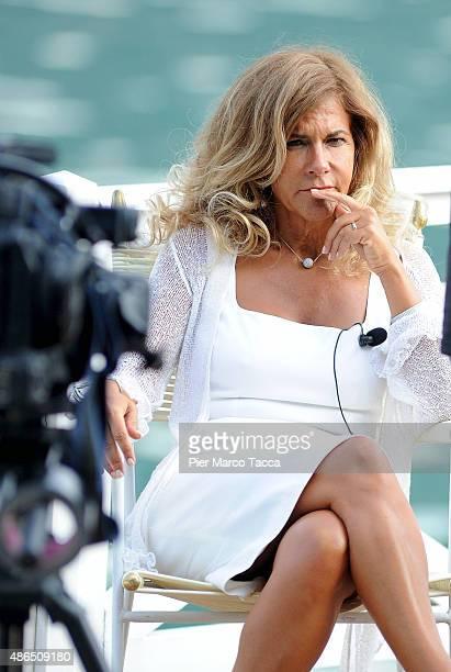 President of ENI Emma Marcegaglia attends the Ambrosetti international economic forum at villa d'Este hotel on September 4 2015 in Cernobbio near...