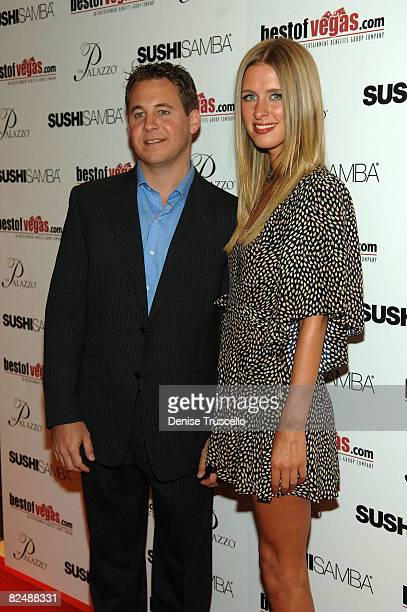 President of Entertainment Benefits Group Brett Reizen and designer Nicky Hilton arrive at the BestOfVegascom launch at Sushi Samba at the Palazzo in...