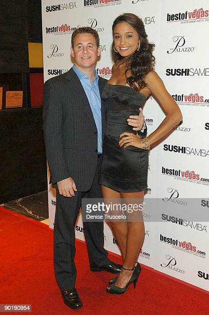 President of Entertainment Benefits Group Brett Reizen and Miss USA 2007 Rachel Smith arrive at the BestOfVegascom launch at Sushi Samba at the...