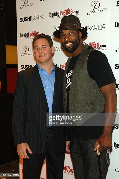 President of Entertainment Benefits Group Brett Reizen and NBA AllStar Baron Davis arrive at the BestOfVegascom launch at Sushi Samba at the Palazzo...