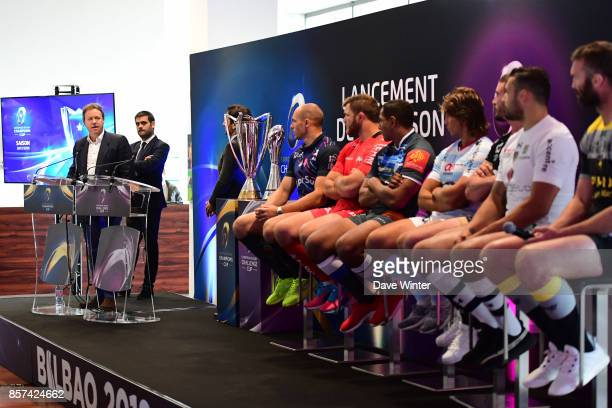 President of EPCR Simon Halliday Matthieu Lartot of France Televisions Rodolphe Pres of beIN SPORTS Sergio Paris of Stade Français Paris Duane...