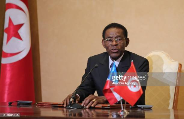 President of Equatorial Guinea Teodoro Obiang Nguema makes a speech during a meeting with Tunisian President Beji Caid el Sebsi at the Carthage...