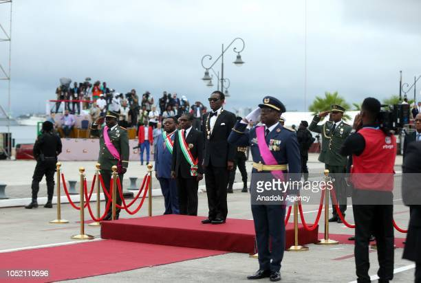 President of Equatorial Guinea Teodoro Obiang Nguema Mbasogo attends the parade during the 50th anniversary of Equatorial Guinea independence day in...