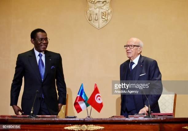 President of Equatorial Guinea Teodoro Obiang Nguema meets with Tunisian President Beji Caid el Sebsi at the Carthage Palace in Tunis Tunisia on...