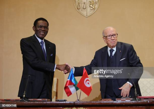 President of Equatorial Guinea Teodoro Obiang Nguema shakes hands with Tunisian President Beji Caid el Sebsi ahead of their meeting at the Carthage...