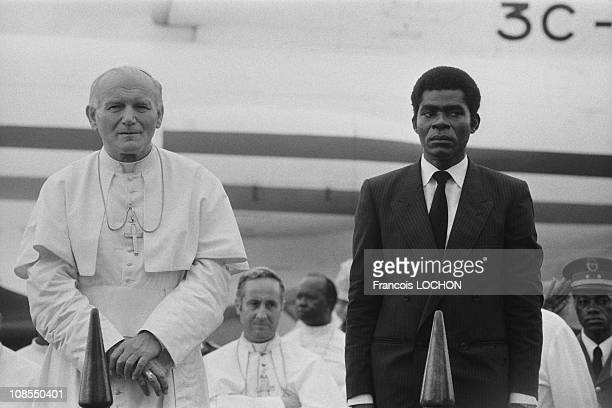 NB 176833 President of Equatorial Guinea Teodoroa Obiang Nguema Mbasogo receives Pope JohnPaul II in Malabo Equatorial Guinea on February 18th 1982