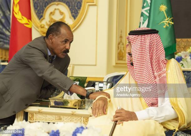 President of Eritrea Isaias Afwerki attends a signing ceremony hosted by King of Saudi Arabia Salman bin Abdulaziz Al Saud at AlSalam Royal Palace in...