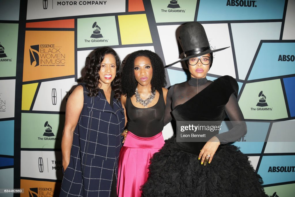 President of Essence Communications Michelle Ebanks, multicultural communications manager at Lincoln Raj Register and singer Erykah Badu attend 2017 Essence Black Women in Music at NeueHouse Hollywood on February 9, 2017 in Los Angeles, California.