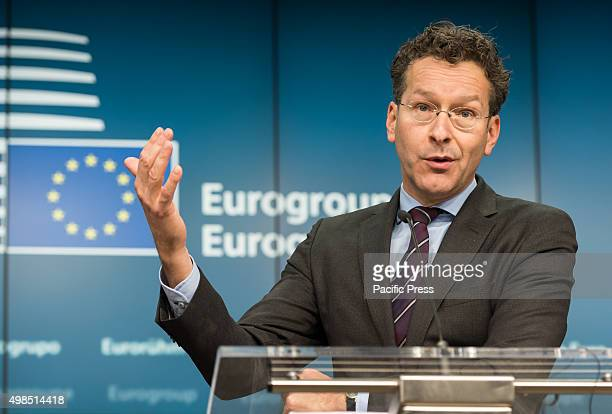 President of Eurogroup Dutch finance minister Jeroen Dijsselbloem give a press meeting prior to the Draft Budgetary Plans for 2016 they say We will...