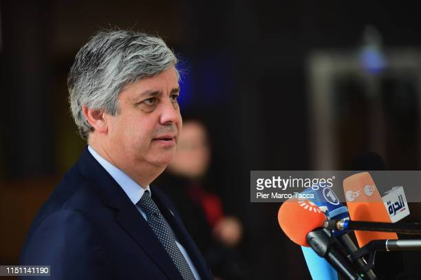 President of Eurogroup Mario Centeno speaks with media upon his arrival of the Heads of State at the EU Summit on June 21, 2019 in Brussels, Belgium.