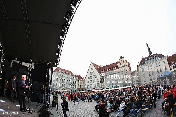 President of European Athletics Svein Arne Hansen speaks during European Athletics U23 Championships opening ceremony at Tallinn Town Hall Square on...