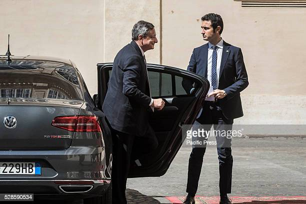 President of European Central Bank ECB Mario Draghi arrives at the Apostolic Palace to attend a a ceremony to give Pope Francis the International...