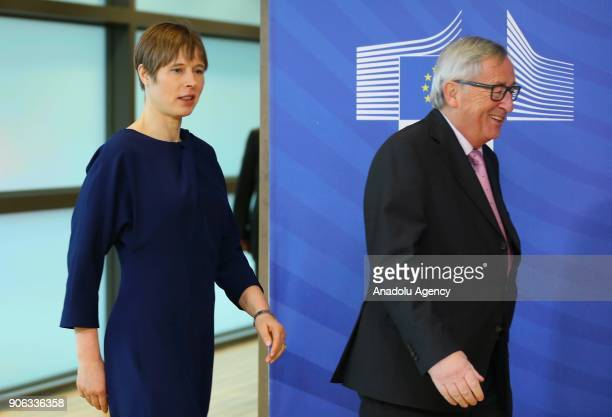 President of European Commission Jean Claude Juncker and President of Estonia Kersti Kaljulaid hold a joint press conference after their meeting in...