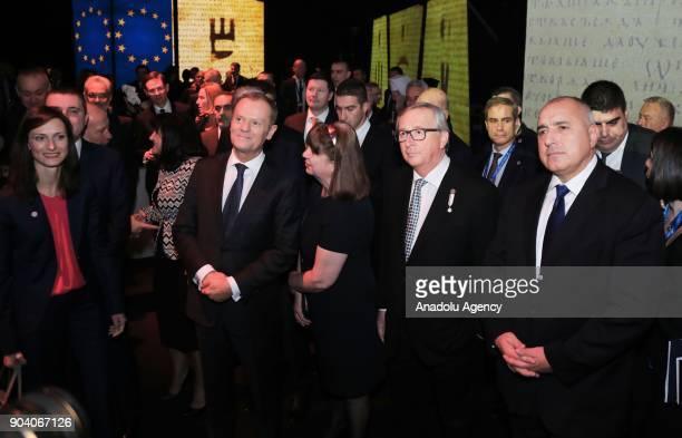 President of European Commission Jean Claude Juncker Bulgaria's Prime Minister Boyko Borisov European Council President Donald Tusk attend the...