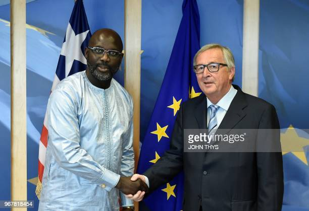 President of European Commission JeanClaude Juncker welcomes President of Liberia George Weah prior to their meeting at the EU headquarters in...