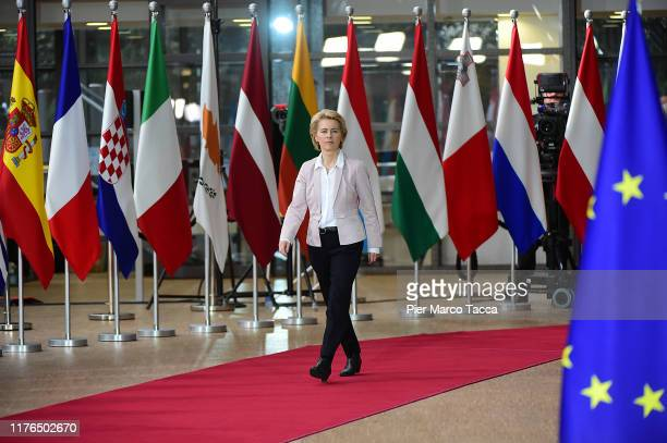 President of European Commission Ursula von der Leyen arrives at European Parliament on October 18 2019 in Brussels Belgium Leaders of the EU...