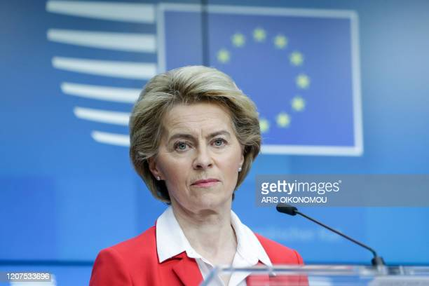 President of European Commission Ursula Von der Leyen gives a press conference after EU leaders' video conference on COVID-19, caused by the novel...