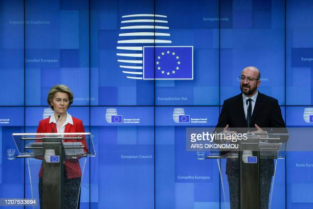 President of European Commission, Ursula Von der Leyens and the President of the European Council, Charles Michel after EU leaders' video conference...