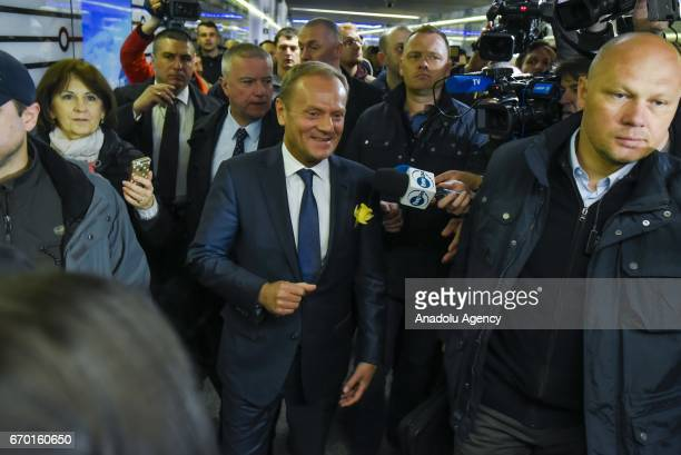 President of European Council Donald Tusk arrives at Warszawa Centralna train station to testify as a witness in a case against former heads of...