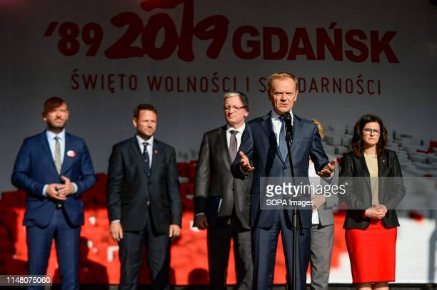 President of European Council Donald Tusk seen during Freedom and Solidarity Days in Gdansk. Gdansk, in the 1980s became the birthplace of the...