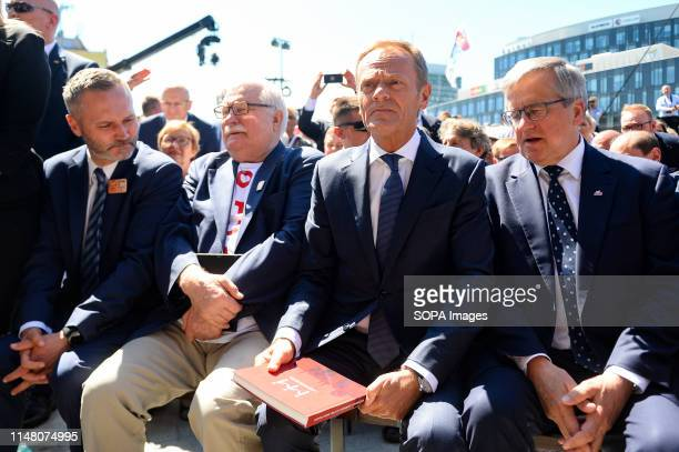 President of European Council Donald Tusk seen with former Presidents of Poland Lech Walesa and Bronislaw Komorowski during Freedom and Solidarity...