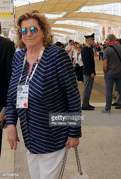 President of Expo 2015 Diana Bracco attends the Prime Minister of Spain Mariano Rajoy at the Spanish Pavilion at the Expo 2015 on June 15 2015 in...