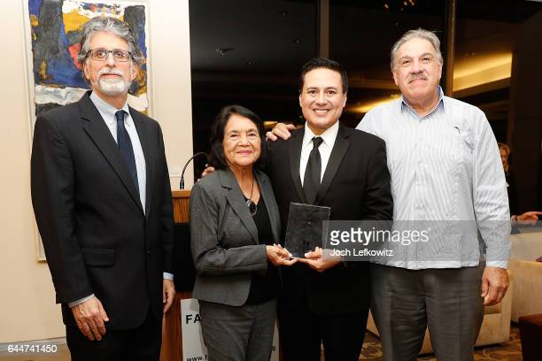 President of Farmworker Justice Bruce Goldstein Civil Rights Icon Dolores Huerta David Damian Figueroa and Mario Gutierrez attend the 2017 Farmworker...