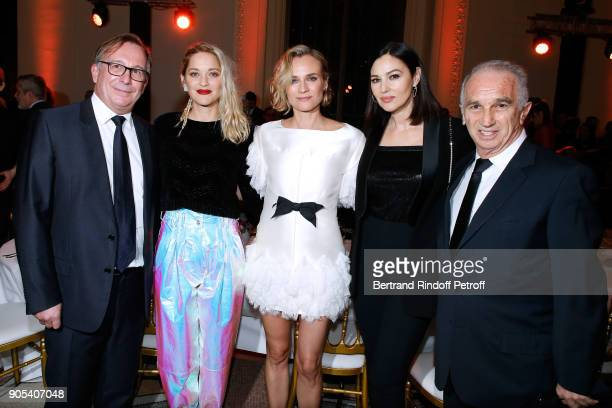 President of Fashion Activities at Chanel Bruno Pavlovsky actresses Marion Cotillard Diane Kruger Monica Bellucci and Cesar Academy President Alain...