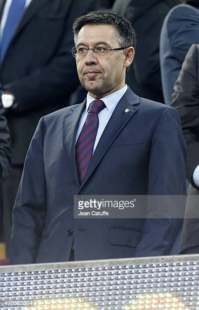 President of FC Barcelona Josep Maria Bartomeu attends the UEFA Champions League Quarter Final Second Leg match between FC Barcelona and Paris...