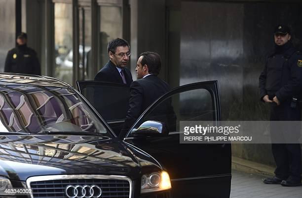 President of FC Barcelona Spanish football club Josep Maria Bartomeu arrives to National High Court in Madrid on February 13 2015 Barcelona's...