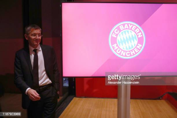 President of FC Bayern Muenchen Herbert Hainer arrives for a pressconference after the annual general meeting of FC Bayern Muenchen at Olympiahalle...