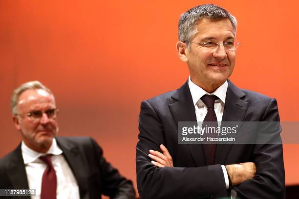 President of FC Bayern Muenchen Herbert Hainer looks on next to KarlHeinz Rummenigge CEO of FC Bayern München after the annual general meeting of FC...