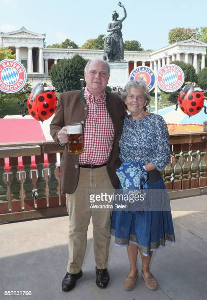 President of FC Bayern Muenchen Uli Hoeness and his wife Susanne attend the Oktoberfest beer festival at Kaefer Wiesenschaenke tent at Theresienwiese...