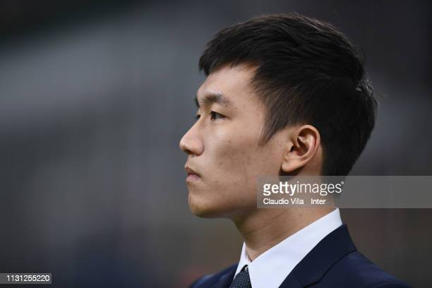 President of FC Internazionale Steven Zhang attends during the Serie A match between AC Milan and FC Internazionale at Stadio Giuseppe Meazza on...