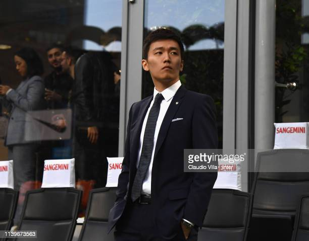 President of FC Internazionale Steven Zhang attends during the Serie A match between FC Internazionale and Juventus at Stadio Giuseppe Meazza on...