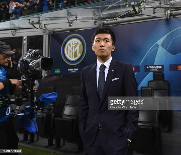 President of FC Internazionale Steven Zhang attends the Group B match of the UEFA Champions League between FC Internazionale and FC Barcelona at San...