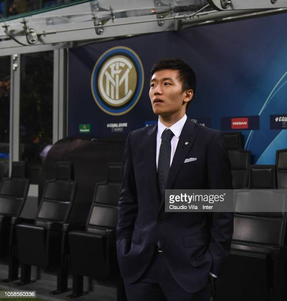 President of FC Internazionale Steven Zhang looks on during the Group B match of the UEFA Champions League between FC Internazionale and FC Barcelona...