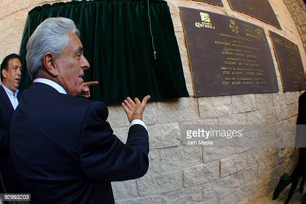 President of FEMEXFUT Justino Compean during the delivery of the commemorative plate as part of the inauguration of the Territory Santos Modelo...